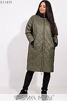 Пальто-стежка прямого кроя с капюшоном, рукавами на манжете и прорезными карманами X11419, фото 1