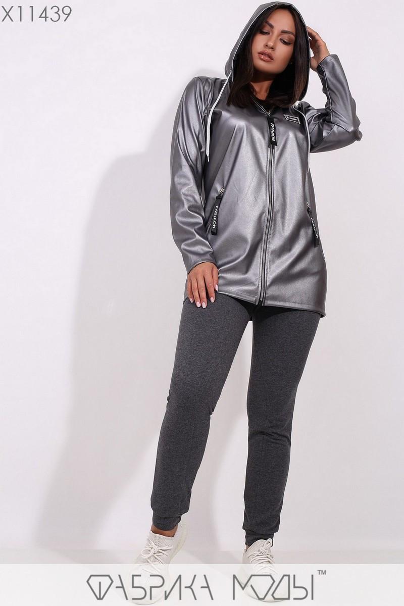 Удлиненная куртка из эко-кожи без подклада с капюшоном, длинными рукавами без манжет и декором из репсовой ленты на змейках X11439