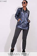 Удлиненная куртка из эко-кожи без подклада с капюшоном, длинными рукавами без манжет и декором из репсовой ленты на змейках X11440
