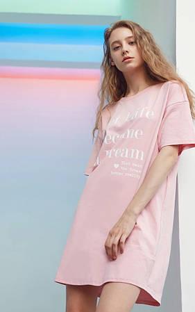 Платье-футболка женское домашнее. Ночная сорочка, туника рубашка для сна, размер S (розовая)