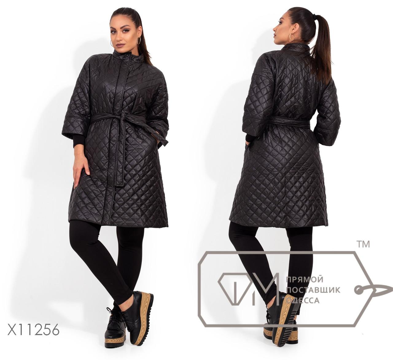 Длинное пальто-стежка с потайной молнией, низко втачными рукавами 3/4, съемным поясом по талии и прорезными карманами X11256