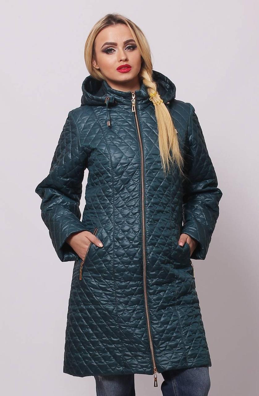 Женская удлинённая демисезонная стёганная куртка с 48 по 76 размер