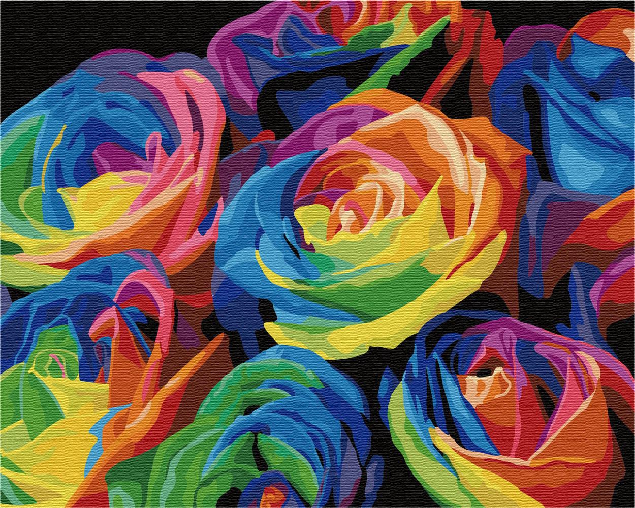 Картина по цифрам Радужные розы (BRM057) 40 х 50 см Brushme
