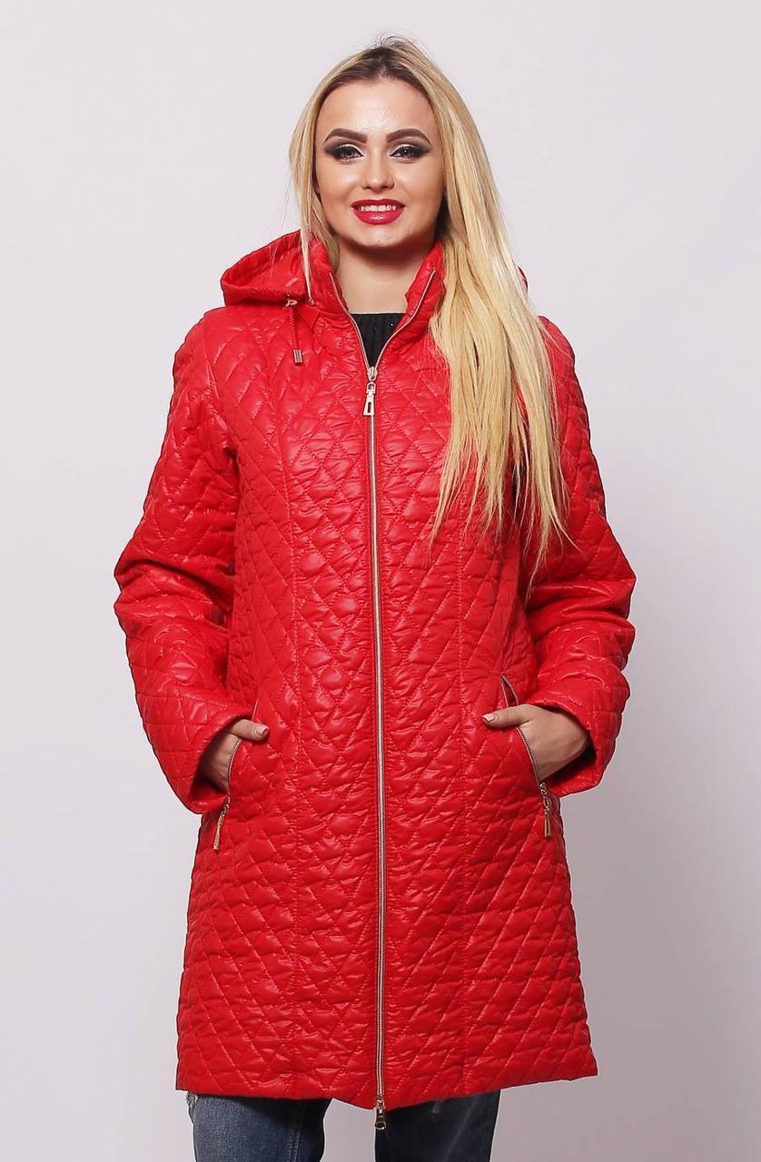 Стильная демисезонная женская  куртка красного цвета с 48 по 76 размер