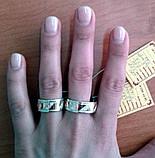 Обручальное кольцо серебряное с золотыми пластинами унисекс 8мм, фото 7