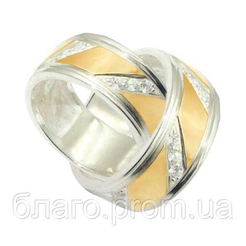 Обручальное кольцо серебряное с золотыми пластинами унисекс 8мм