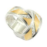 Обручальное кольцо серебряное с золотыми пластинами унисекс 8мм, фото 1