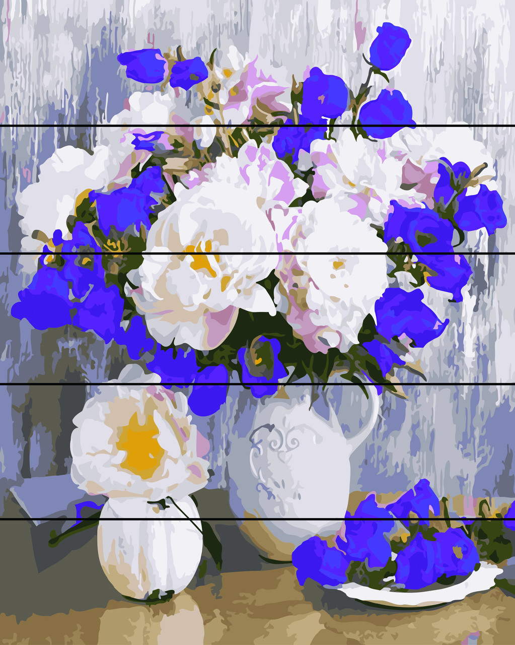 Картина по номерам по дереву Букет в белой вазе (RA-AS0229) 40 х 50 см Rainbow Art
