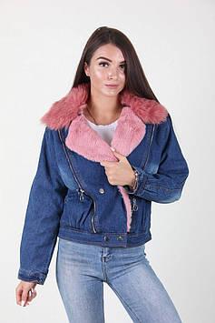Теплая короткая женская джинсовая куртка