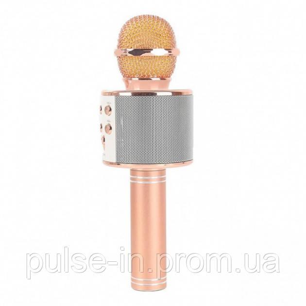 Беспроводной микрофон караоке UTM WS858 с чехлом Gold