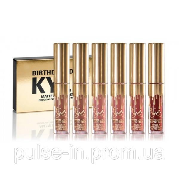 Набор жидких губных помад Kylie Birthday Edition Gold Микс цветов