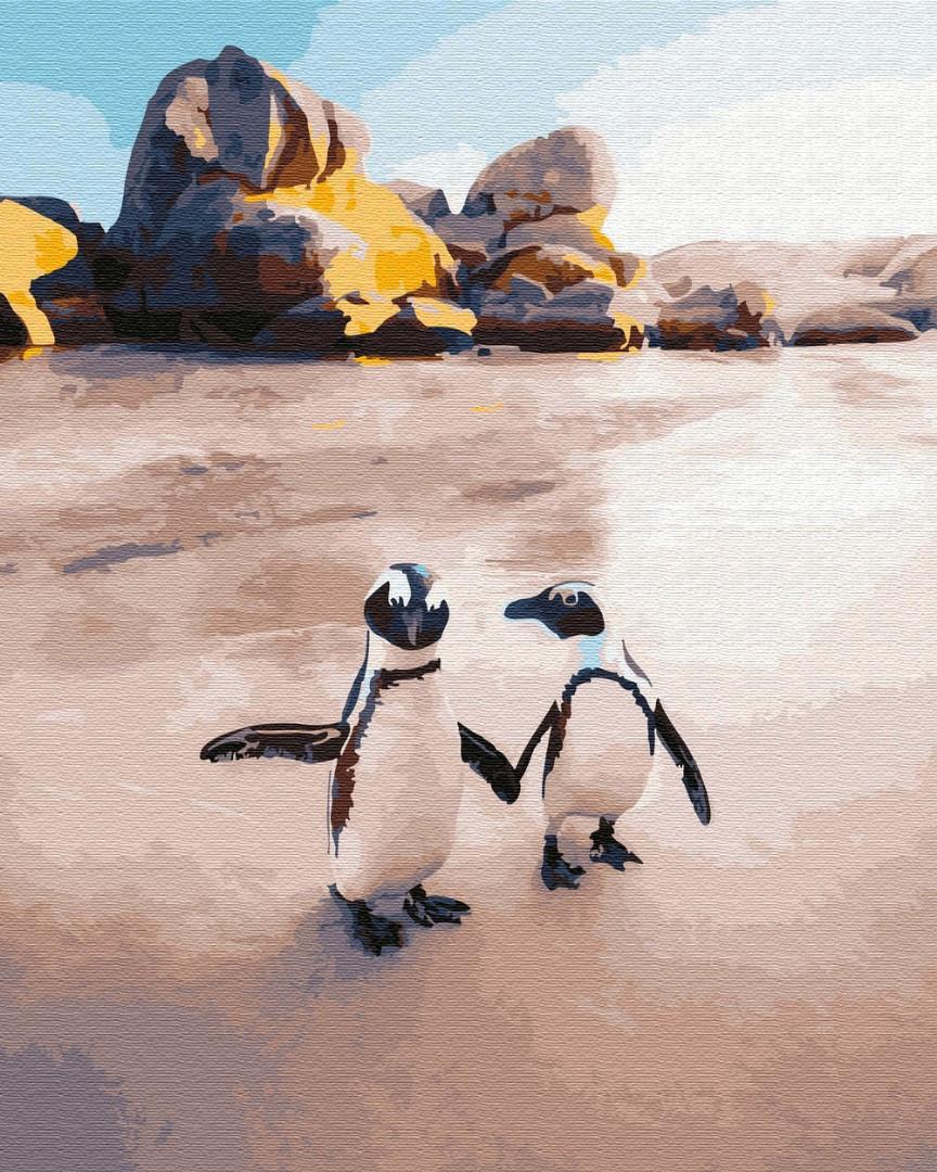 Живопись по номерам Пингвины на пляже (PGX29702) 40 х 50 см Brushme Premium