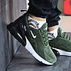 Мужские кроссовки новинка Найк 8399 темно зеленые