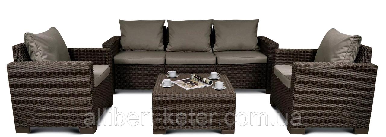 Набор садовой мебели California 3 Seater Set Brown ( коричневый ) из искусственного ротанга
