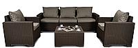 Набор садовой мебели California 3 Seater Set Brown ( коричневый ) из искусственного ротанга, фото 1