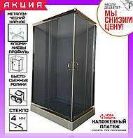 Прямоугольная душевая кабина 120x80 см AquaStream Simple 128 128SLB профиль сатин, стекло тонированное