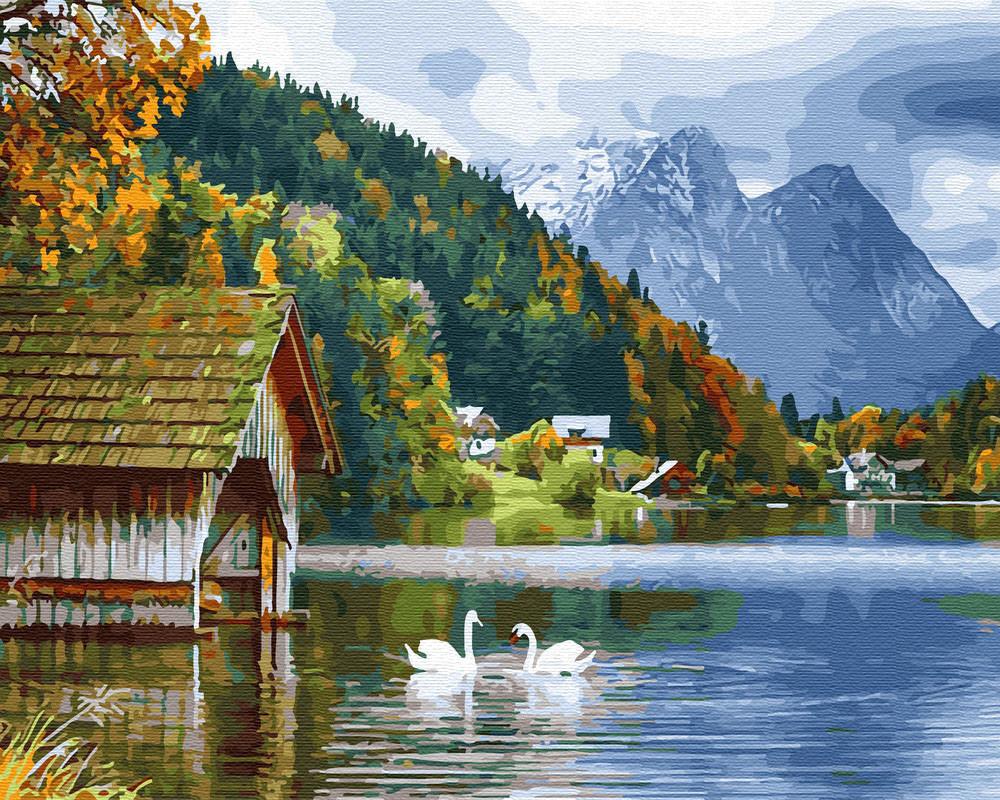 Картина раскраска Озеро с лебедями (BRM27951) 40 х 50 см