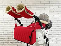 Комплект зимний Конверт, рукавички и сумка-пеленатор Z&D New (Красный), фото 1