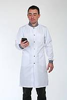 Мужской медицинский халат белый HL 3142 коттон 42-56 р