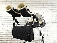 Комплект зимний Конверт, рукавички и сумка-пеленатор Z&D New (Черный), фото 1