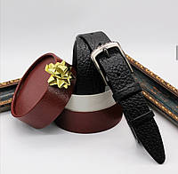 Кожаный ремень 35 мм чёрный Italia