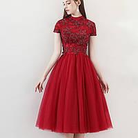Короткое вечернее красное платье с пышной юбкой Красное выпускное платье вечерние платье