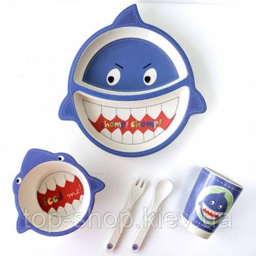 Детская бамбуковая посуда ECO Акула набор из 5 предметов