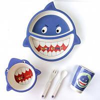 Детская бамбуковая посуда ECO Акула набор из 5 предметов, фото 1