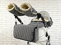 Комплект зимний Конверт, рукавички и сумка-пеленатор Z&D New Лен Серый