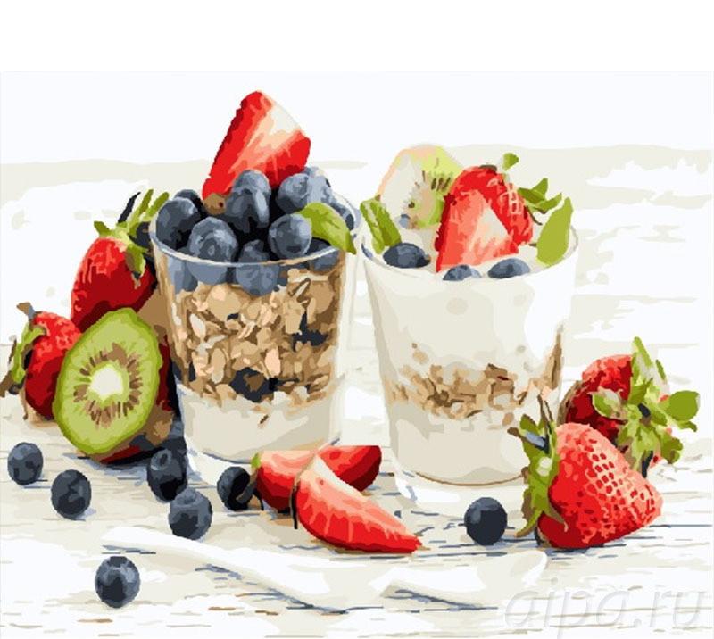 Раскраска по цифрам Мюсли с йогуртом (BRM25019) 40 х 50 см Brushme