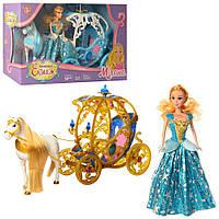 Карета 245A-266A с лошадью 54см(ходит), кукла 29см, звук, на бат,в кор-ке,5633,5-17см