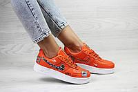 Женские кроссовки в стиле Nike Air Force 1 Just Do It, кожа, резина, оранжевые 36 (23,5 см)