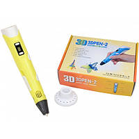 3D ручка PEN-2 c LCD дисплеем и набором пластика Желтая