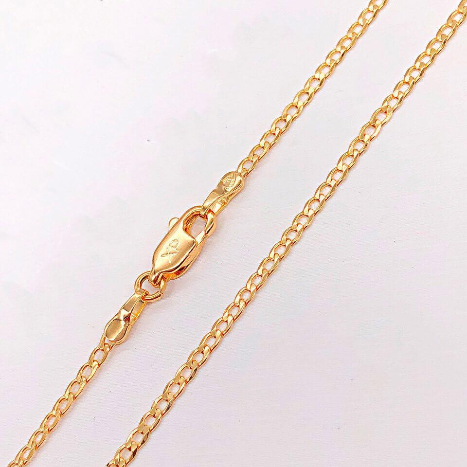 "Цепочка Xuping Jewelry 60 см х 2 мм ""Панцирная плоская"" медицинское золото, позолота 18К. А/В 4194"