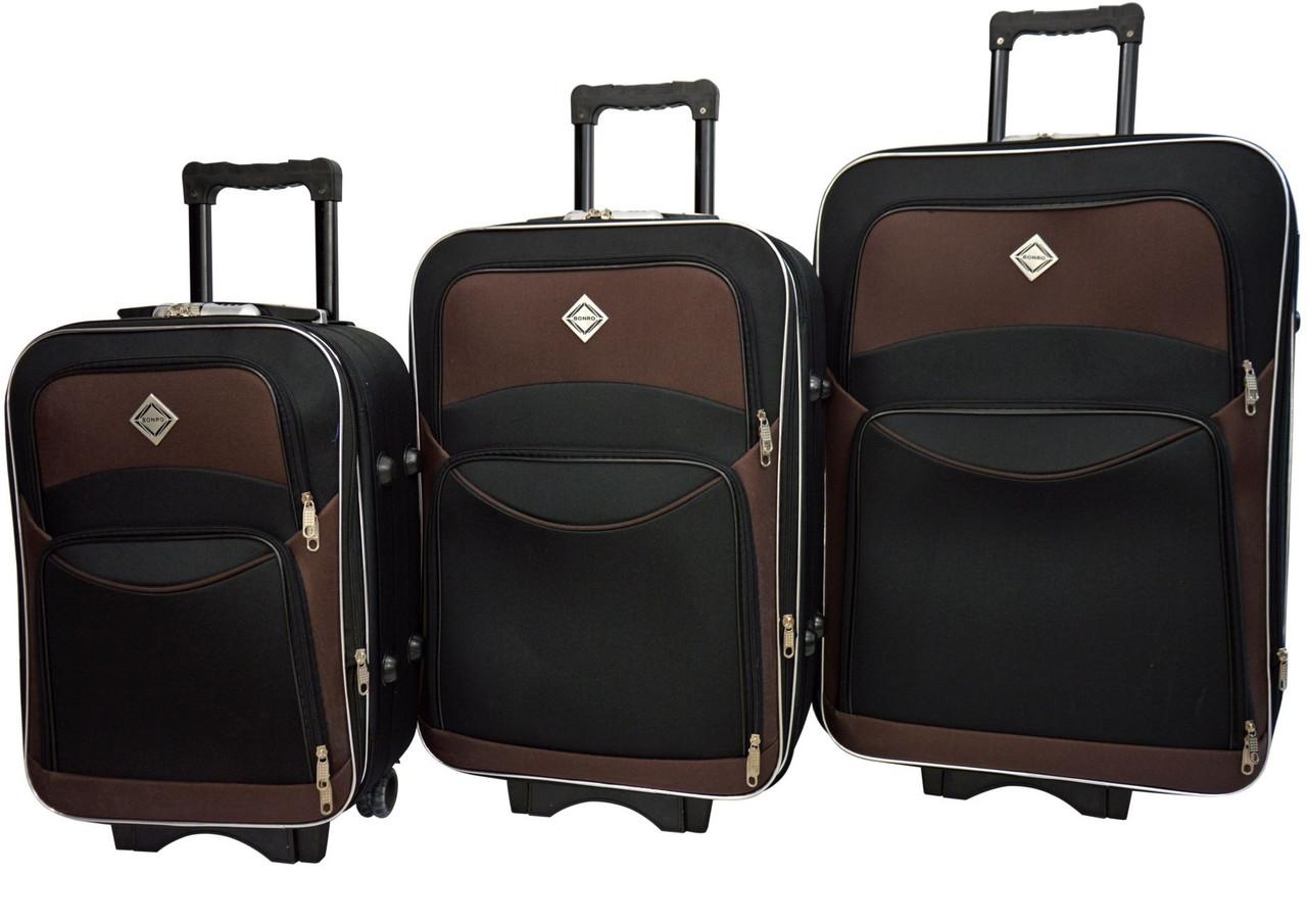 Чемодан Bonro Style набор 3 штуки черно-коричневый