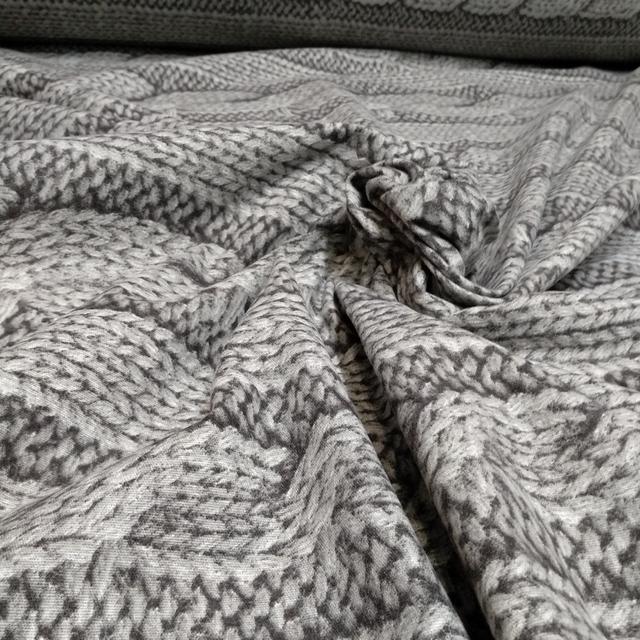 фланель 100% хб вязанка серая для постельного белья ширина 220см.