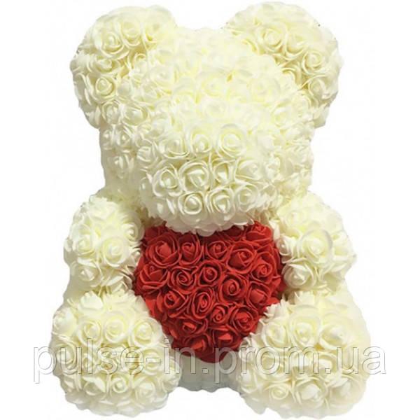 Мишка из роз Белый с сердцем UTM 40 см