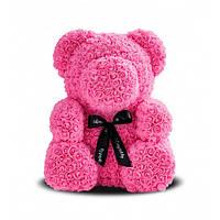 Мишка из роз Розовый с лентой UTM 25 см