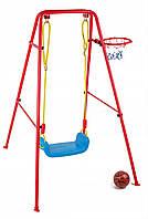 Большая металлическая качеля LEAN Toys с баскетбольной корзиной и мячом 777-790
