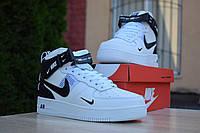 Кроссовки зимние Nike Air Force мужские, белые, в стиле Найк Форс. Натуральная кожа, мех 100% Код OD-3363