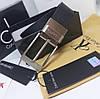 Ремень мужской кожаный черный модный стильный Кельвин Кляйн