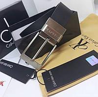 Ремень мужской кожаный черный модный стильный Кельвин Кляйн, фото 1