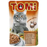 Консервы для кошек TOMi, гусь и печень, пауч, 0.1кг