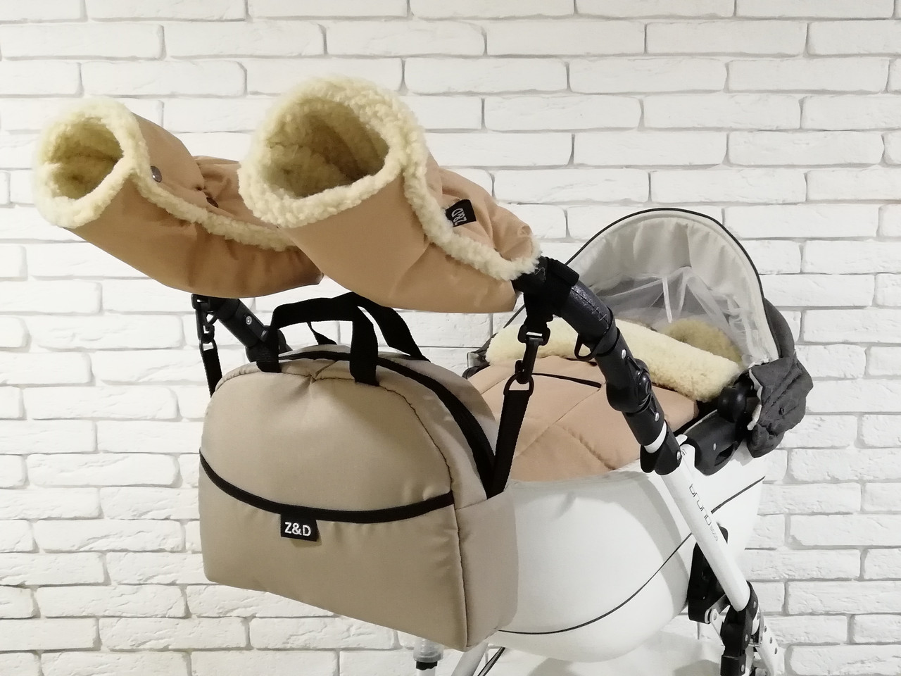 Комплект зимний Конверт, рукавички и сумка Z&D New (Бежевый)