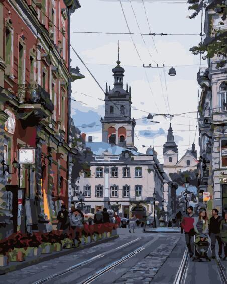 Раскраска для взрослых Улица города Льва (BRM29292) 40 х 50 см Brushme
