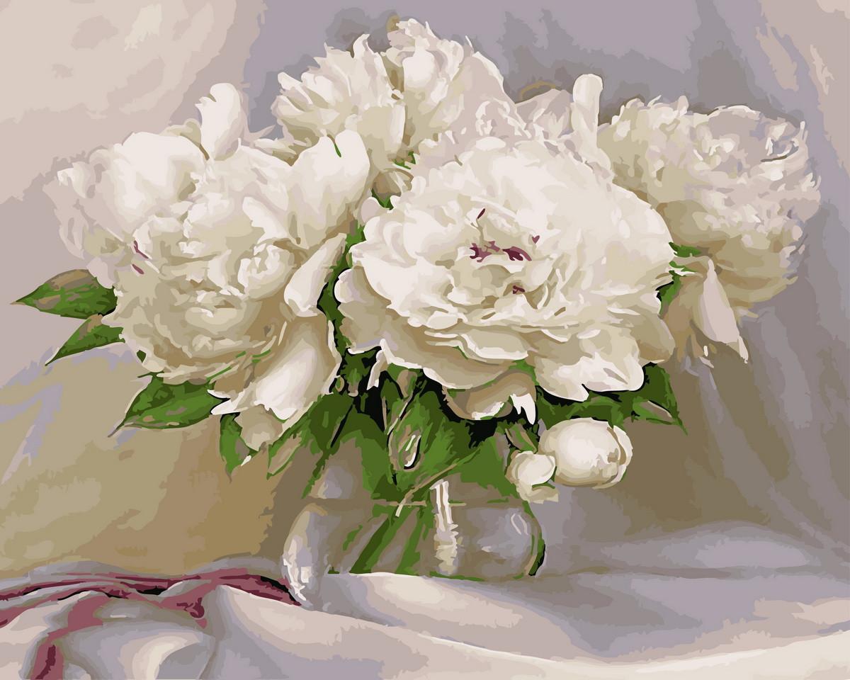Картина по номерам Белоснежные пионы (BRM4870) 40 х 50 см Brushme