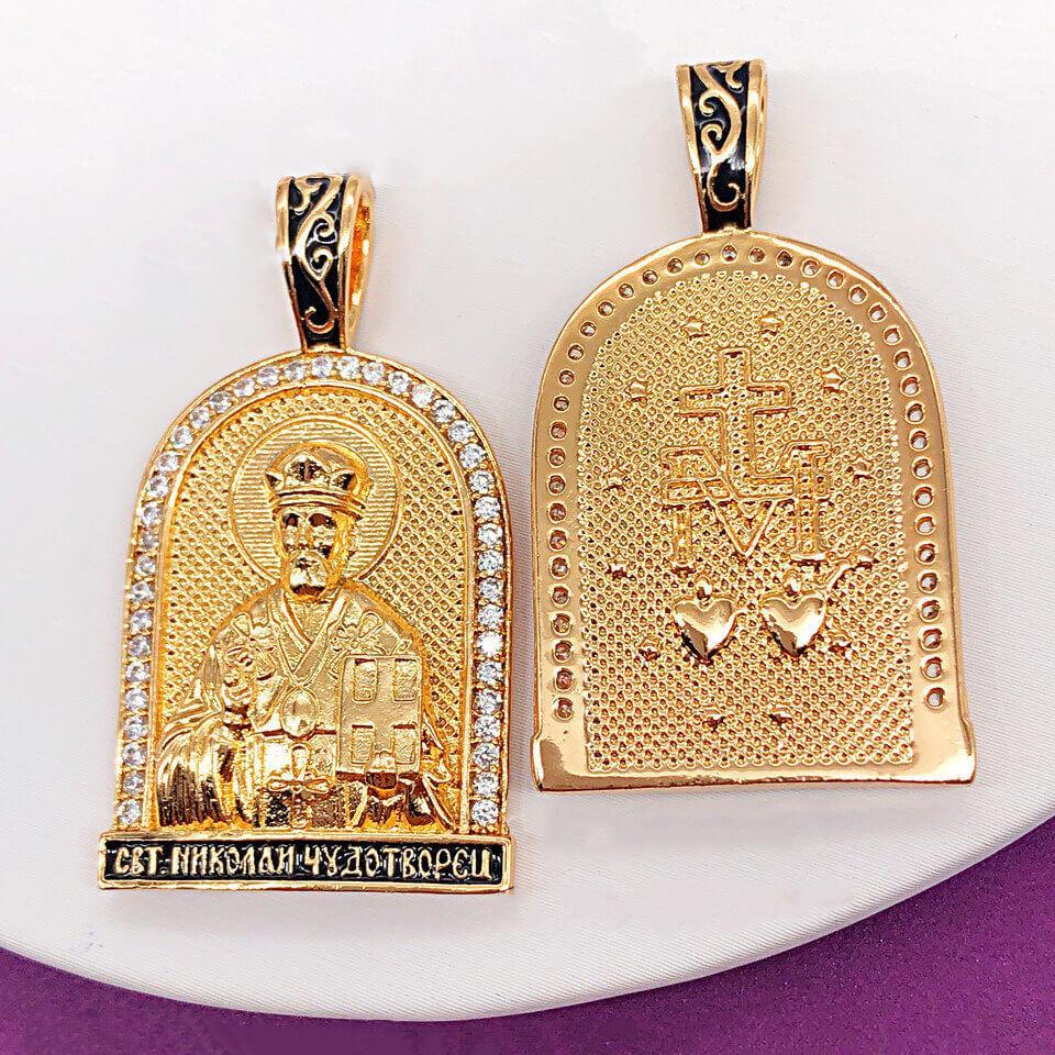 Ладанка Xuping Jewelry Святой Николай Чудотворец медицинское золото, позолота 18К. А/В 4203