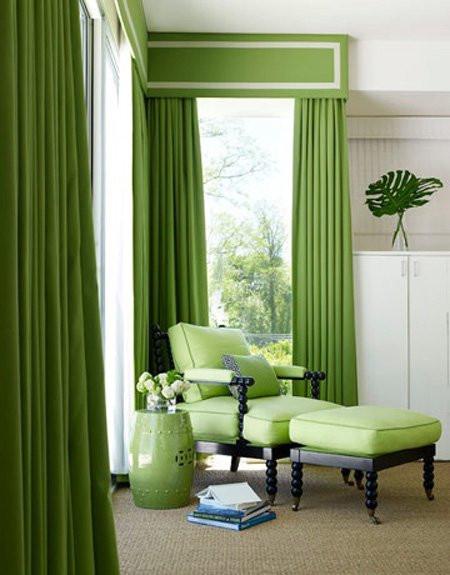 Зеленые шторы в зал