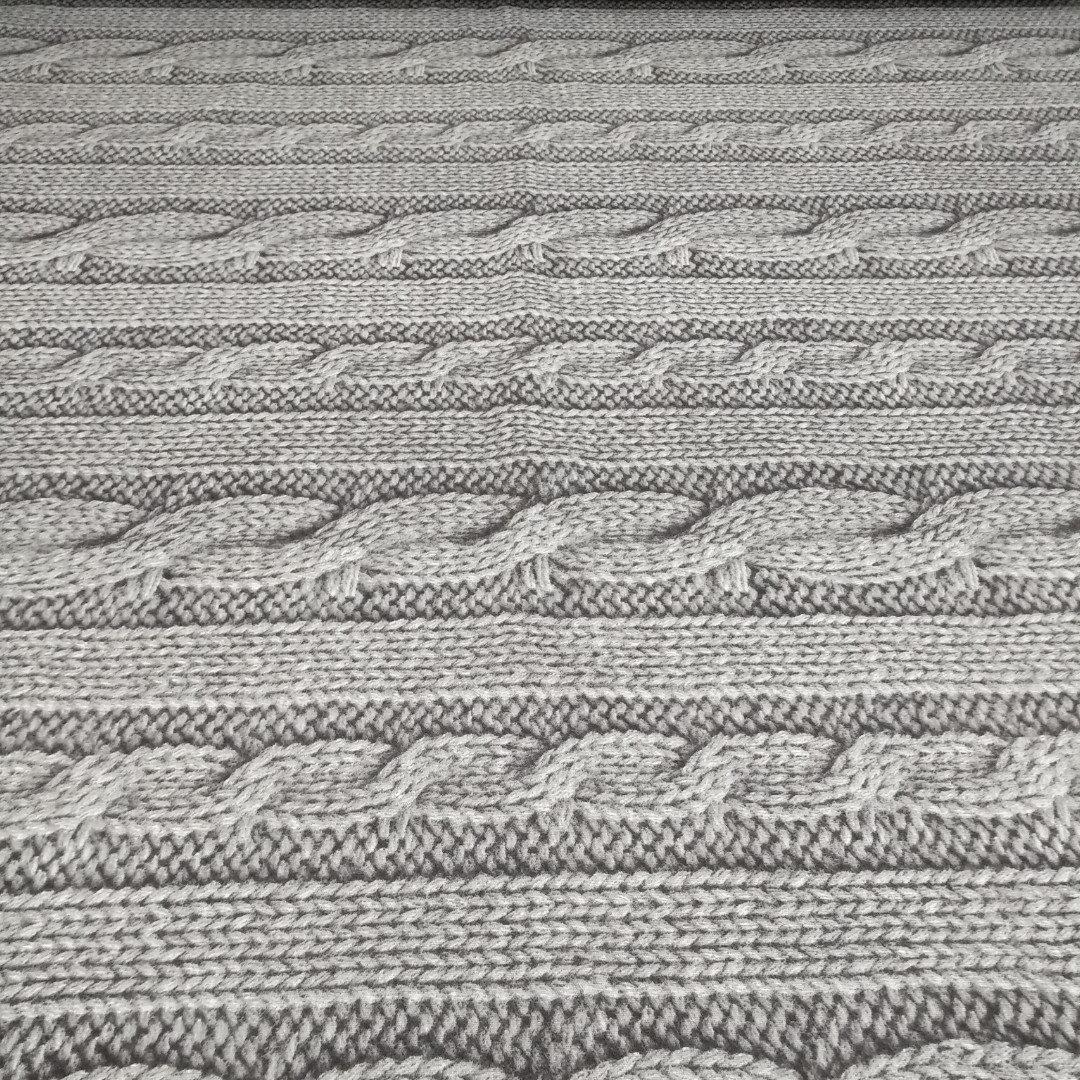 Фланель 'вязанка серая' 100% хб для постели 220 см.
