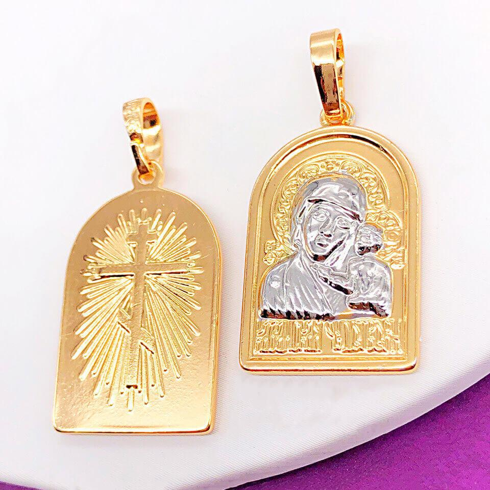 Ладанка Xuping Jewelry Богородица с младенцем, медицинское золото, позолота 18К + родий. А/В 4204